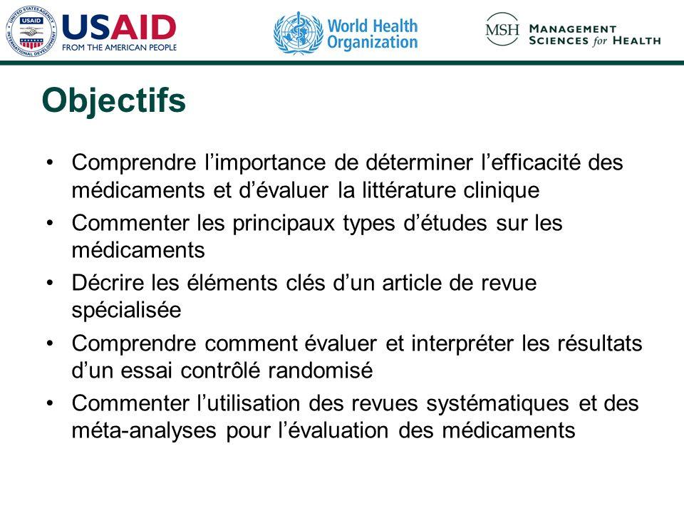 Objectifs Comprendre l'importance de déterminer l'efficacité des médicaments et d'évaluer la littérature clinique.