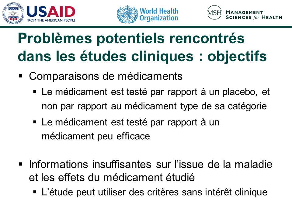 Problèmes potentiels rencontrés dans les études cliniques : objectifs