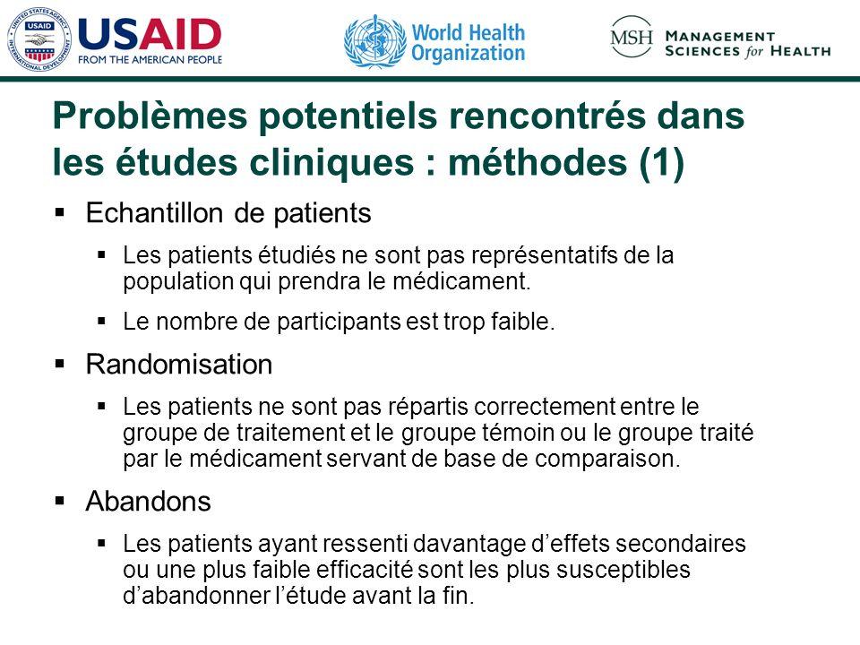 Problèmes potentiels rencontrés dans les études cliniques : méthodes (1)