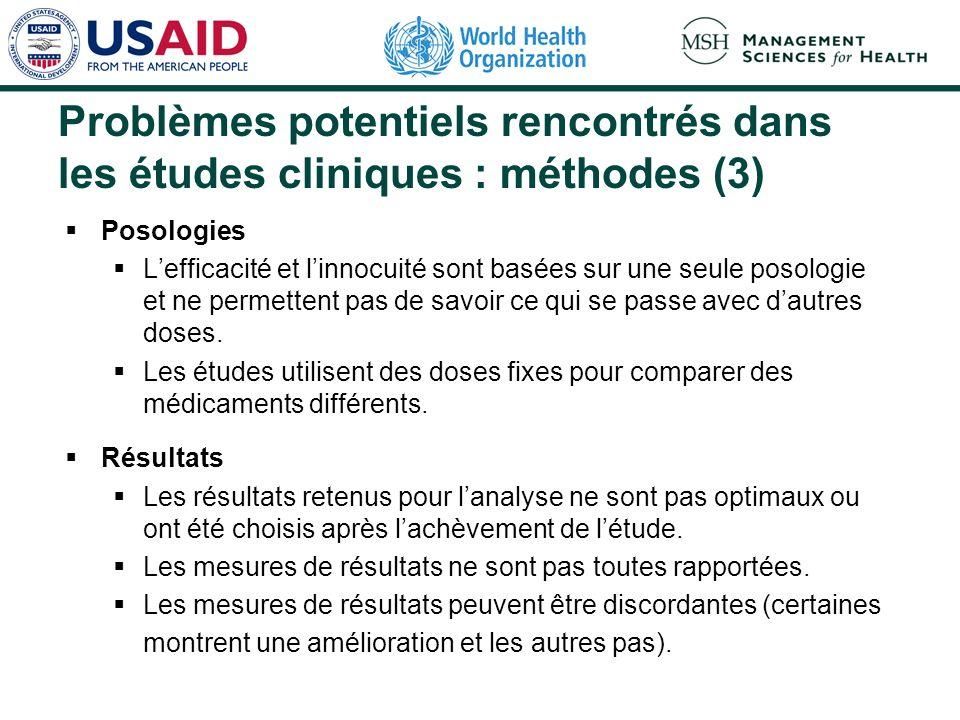 Problèmes potentiels rencontrés dans les études cliniques : méthodes (3)