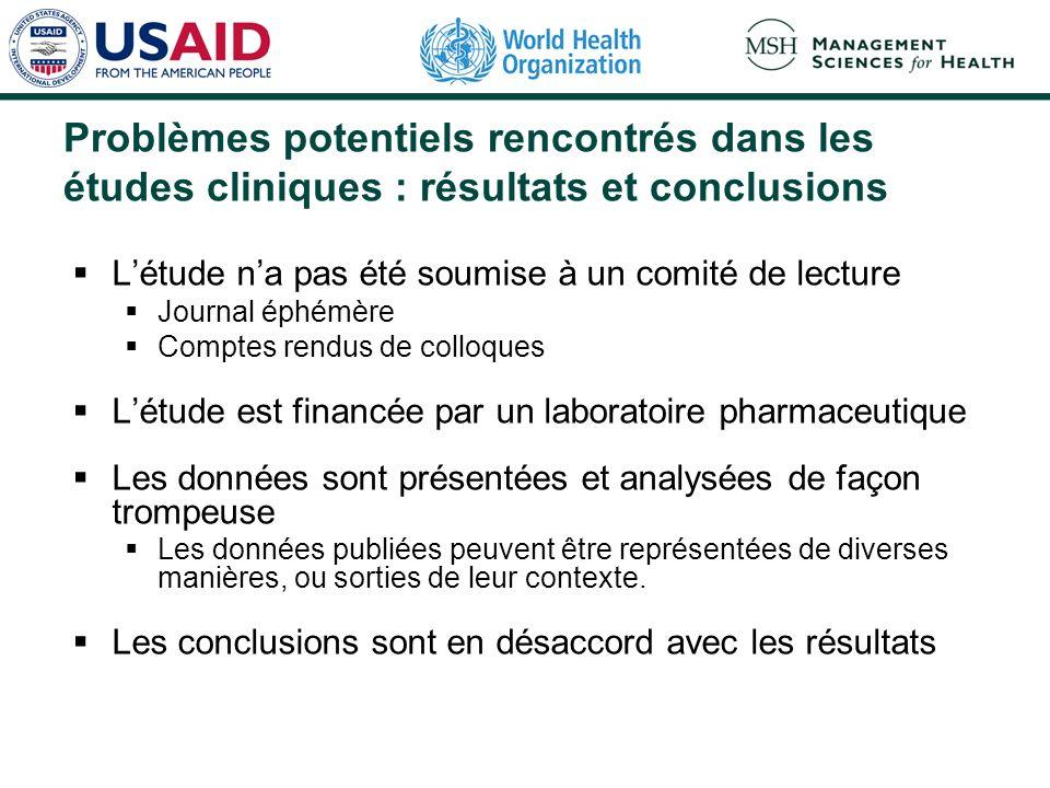 Problèmes potentiels rencontrés dans les études cliniques : résultats et conclusions