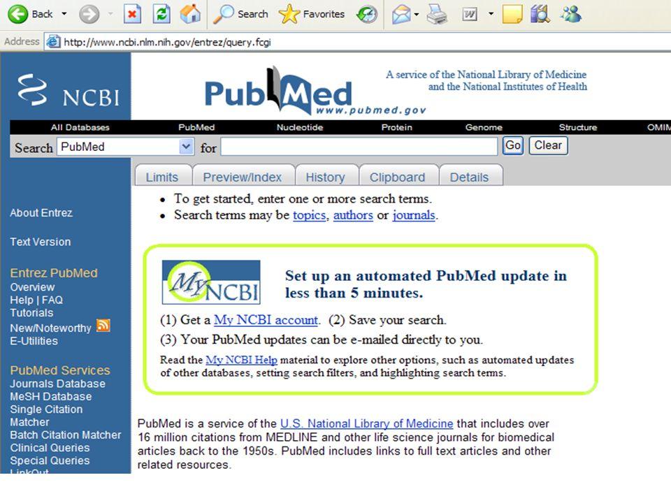 Exemple de recherche d'informations sur PubMed