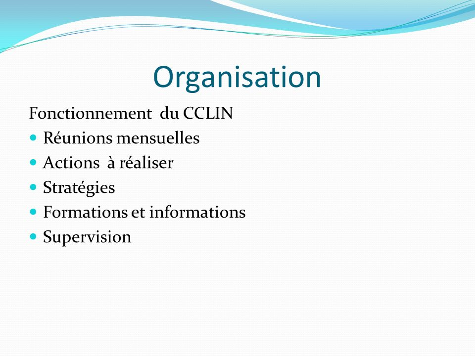 Organisation Fonctionnement du CCLIN Réunions mensuelles