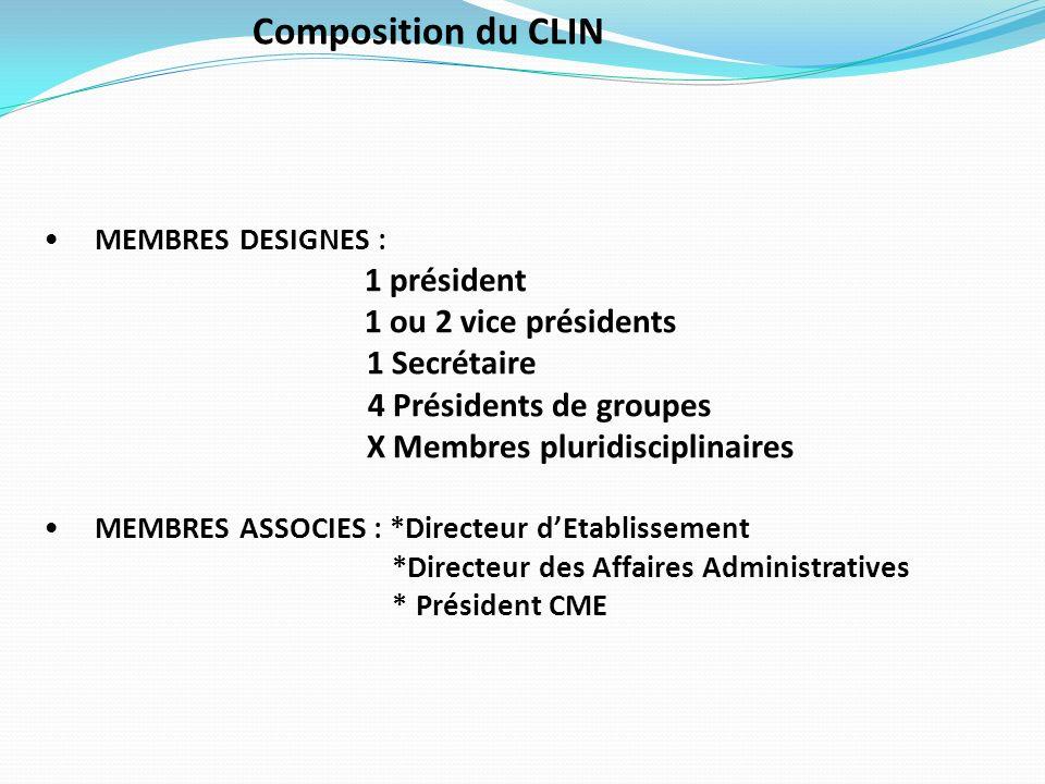 Composition du CLIN 1 ou 2 vice présidents 1 Secrétaire