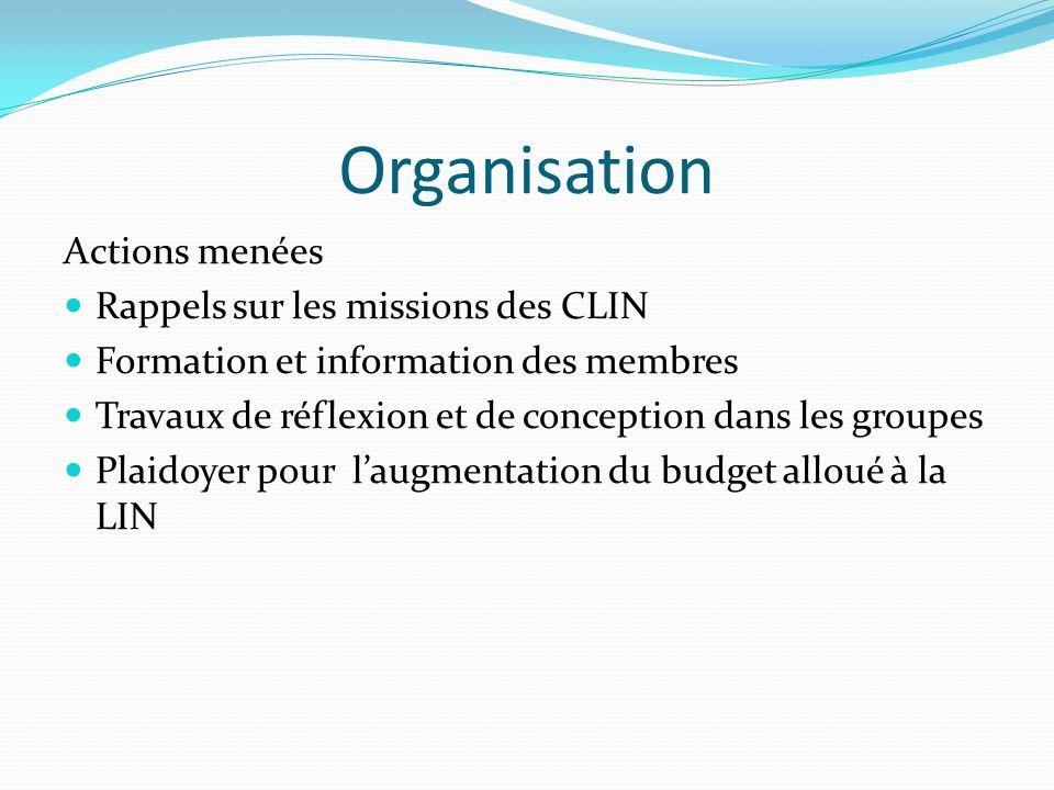Organisation Actions menées Rappels sur les missions des CLIN
