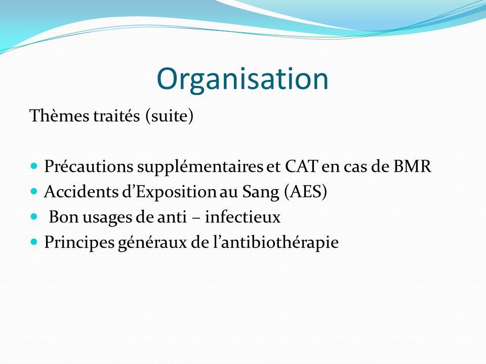 Organisation Thèmes traités (suite)