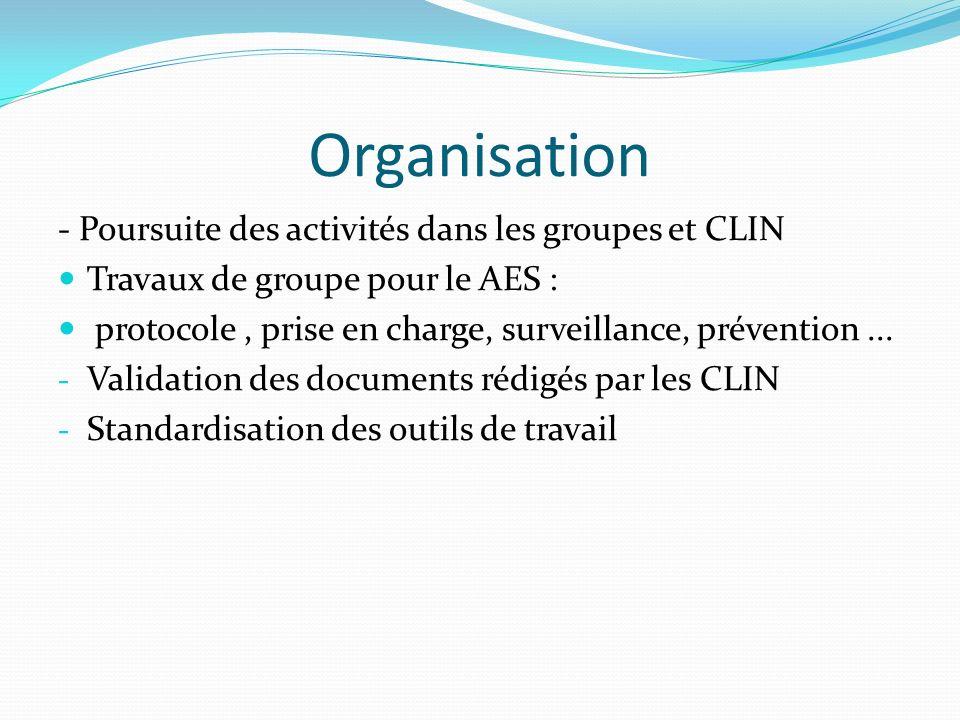Organisation - Poursuite des activités dans les groupes et CLIN