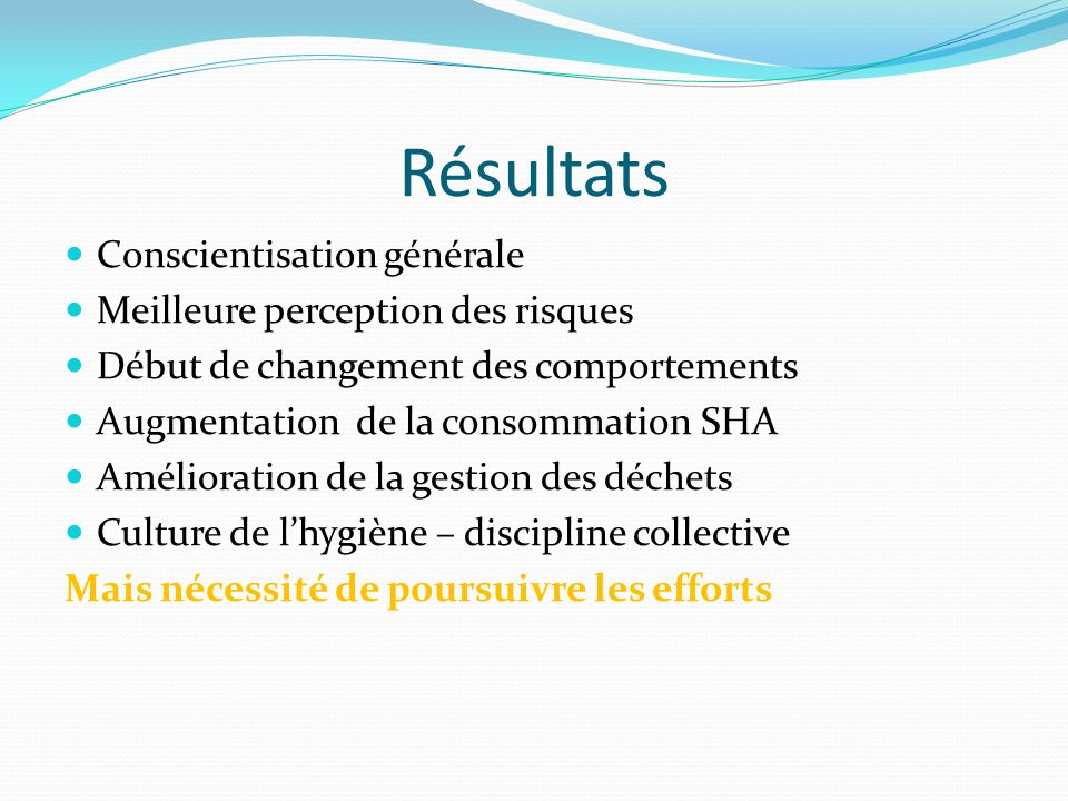 Résultats Conscientisation générale Meilleure perception des risques
