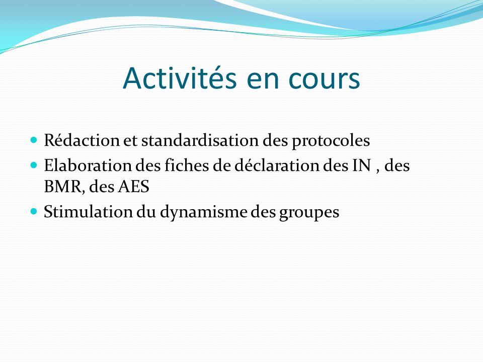 Activités en cours Rédaction et standardisation des protocoles