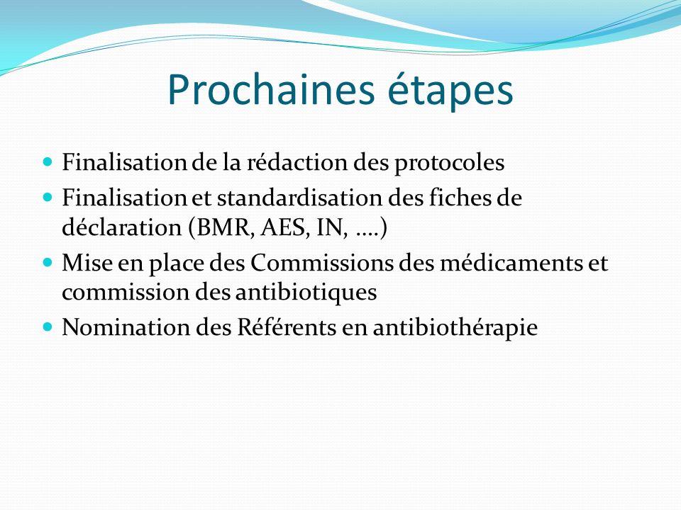 Prochaines étapes Finalisation de la rédaction des protocoles