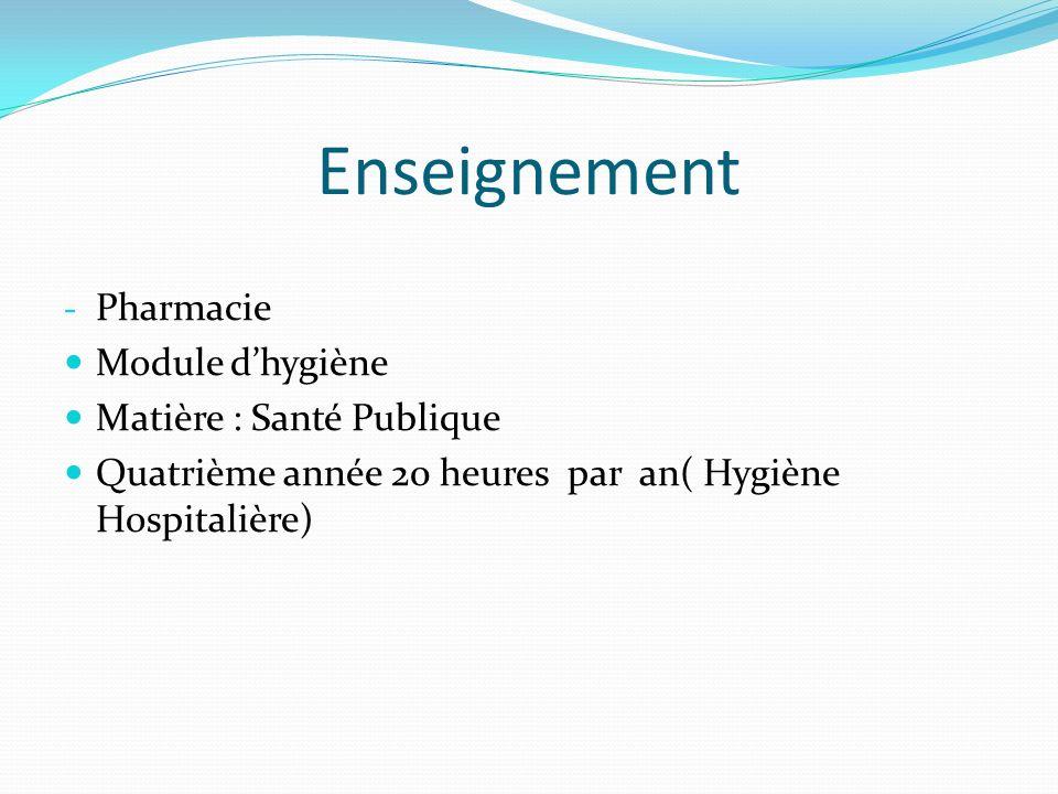 Enseignement Pharmacie Module d'hygiène Matière : Santé Publique