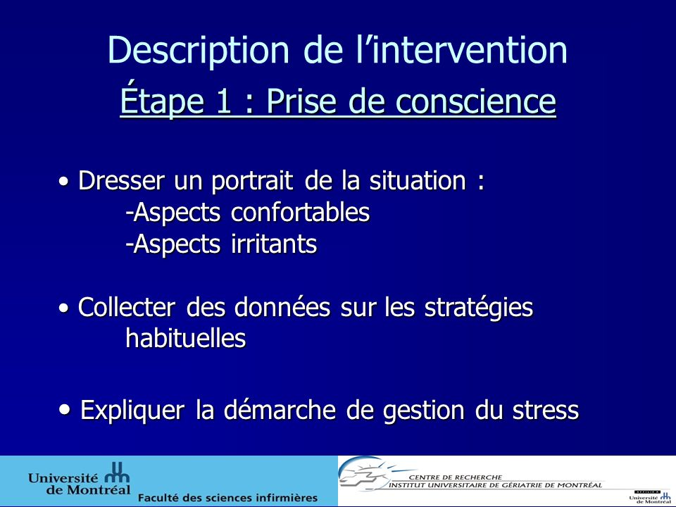 Description de l'intervention Étape 1 : Prise de conscience