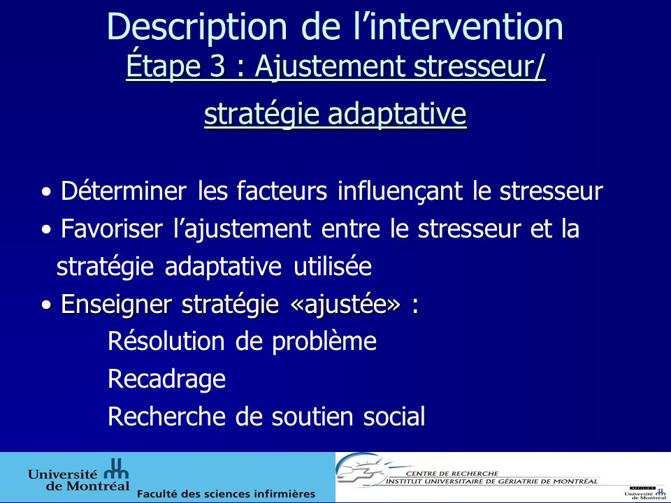 Description de l'intervention Étape 3 : Ajustement stresseur/ stratégie adaptative