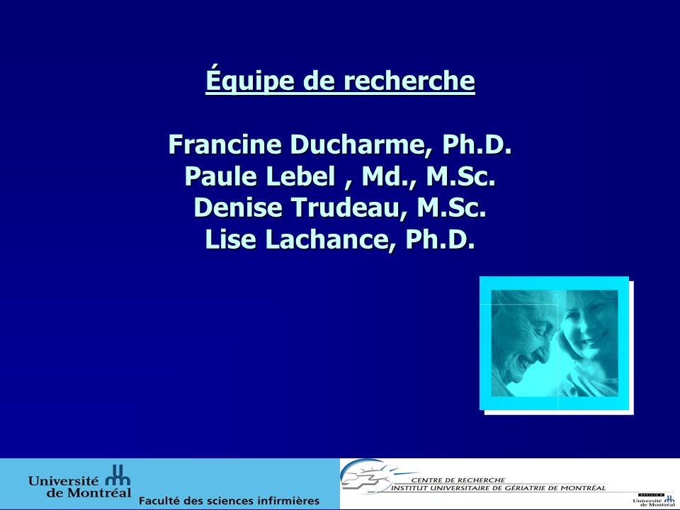 Équipe de recherche Francine Ducharme, Ph.D. Paule Lebel , Md., M.Sc.
