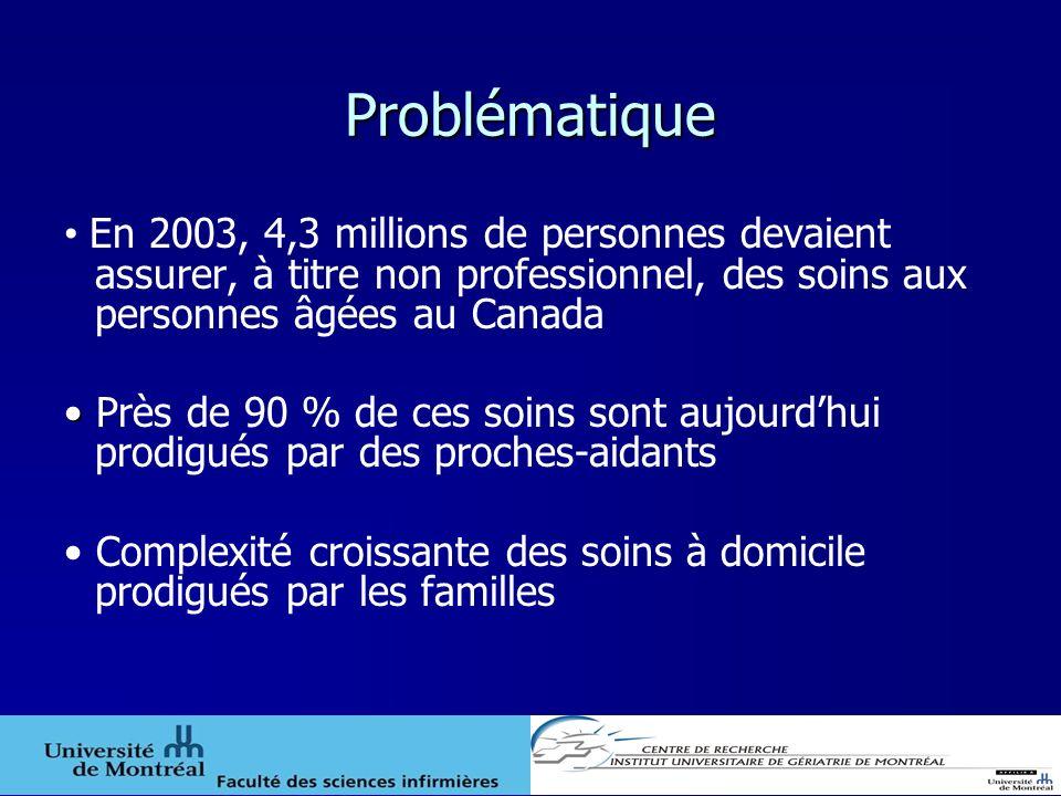 Problématique En 2003, 4,3 millions de personnes devaient assurer, à titre non professionnel, des soins aux personnes âgées au Canada.