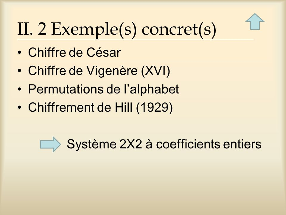 II. 2 Exemple(s) concret(s)