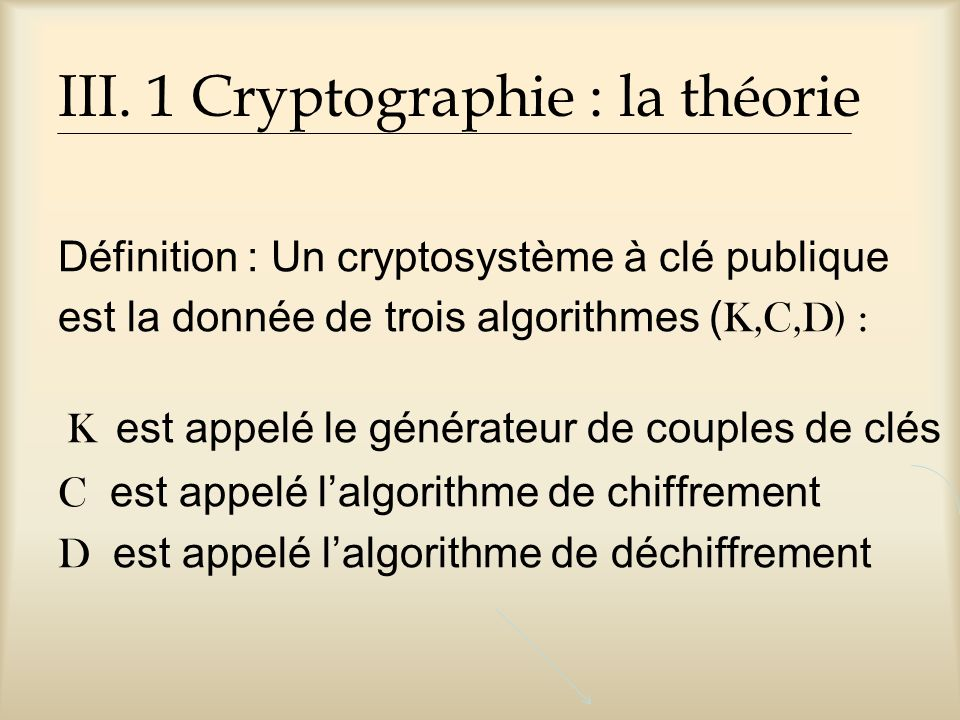 III. 1 Cryptographie : la théorie