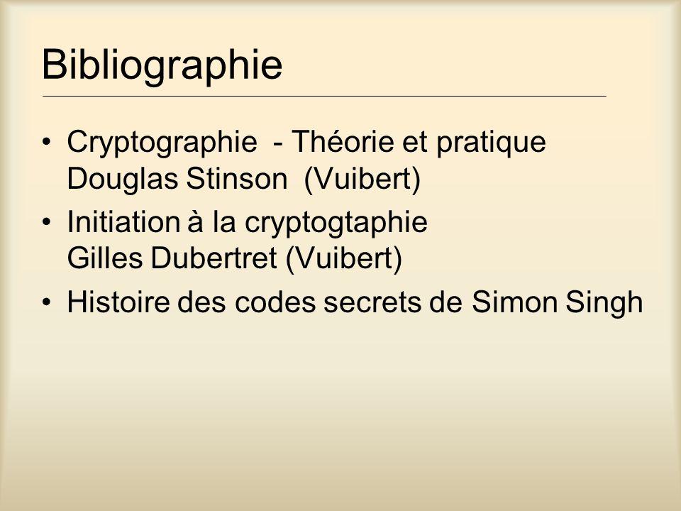 Bibliographie Cryptographie - Théorie et pratique Douglas Stinson (Vuibert) Initiation à la cryptogtaphie Gilles Dubertret (Vuibert)
