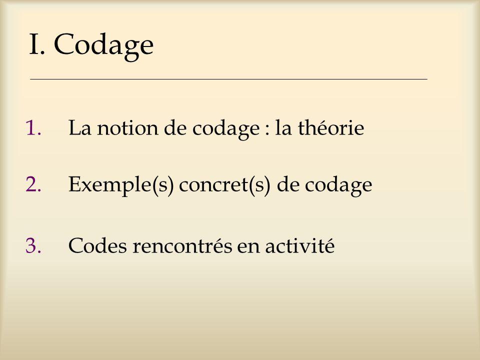 I. Codage La notion de codage : la théorie
