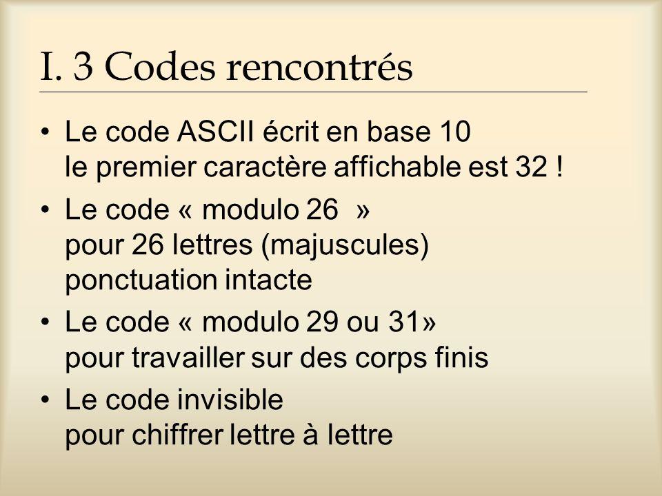 I. 3 Codes rencontrés Le code ASCII écrit en base 10 le premier caractère affichable est 32 !