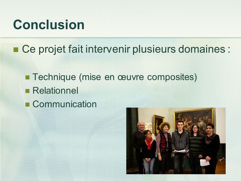Conclusion Ce projet fait intervenir plusieurs domaines :