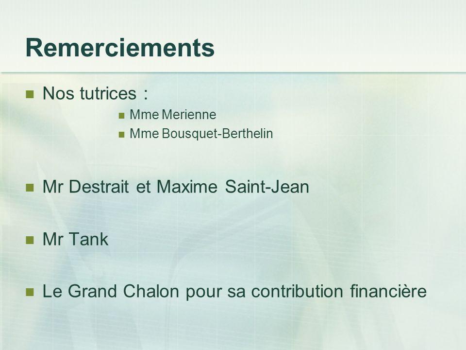 Remerciements Nos tutrices : Mr Destrait et Maxime Saint-Jean Mr Tank