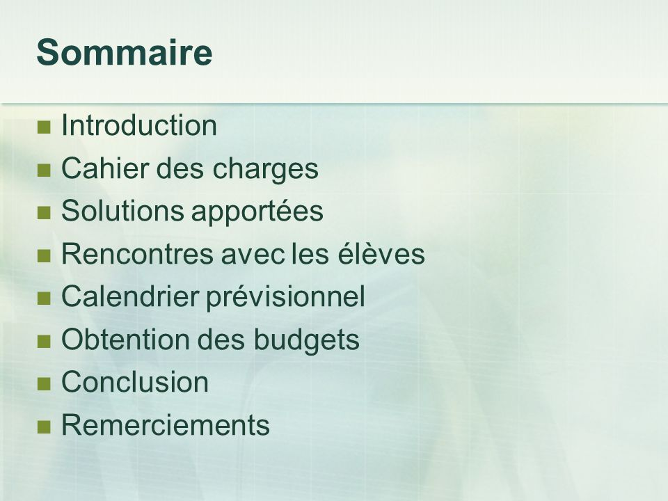 Sommaire Introduction Cahier des charges Solutions apportées