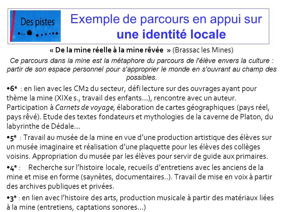 Exemple de parcours en appui sur une identité locale