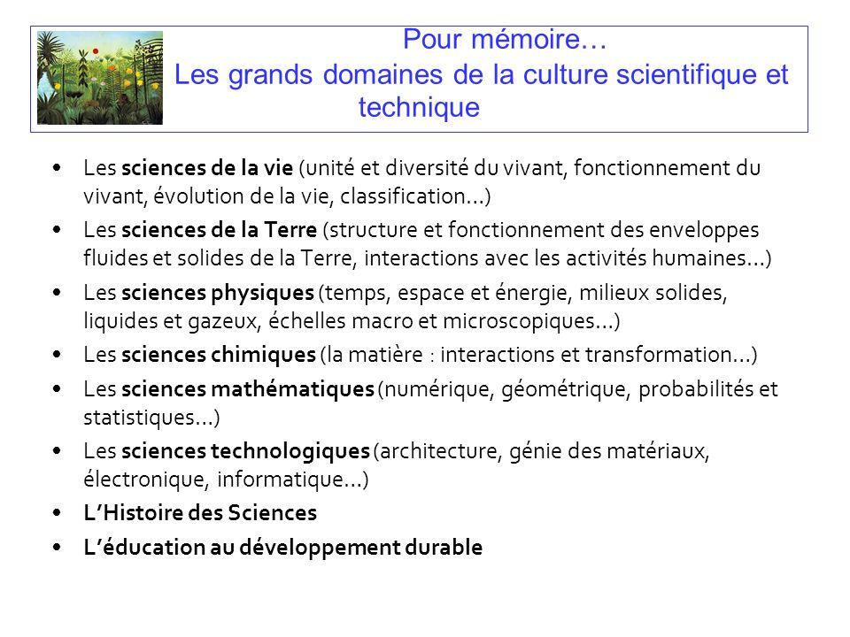 Pour mémoire… Les grands domaines de la culture scientifique et technique