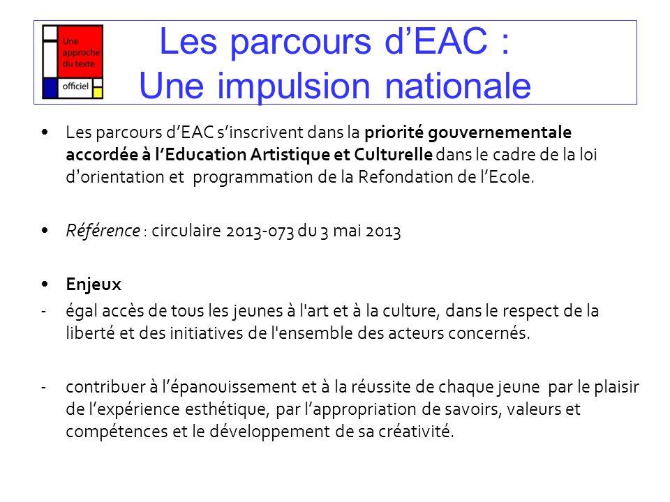 Les parcours d'EAC : Une impulsion nationale