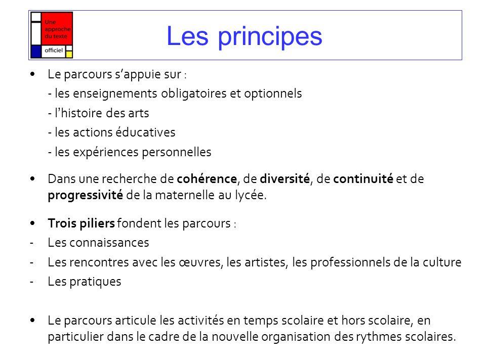Les principes Le parcours s'appuie sur :