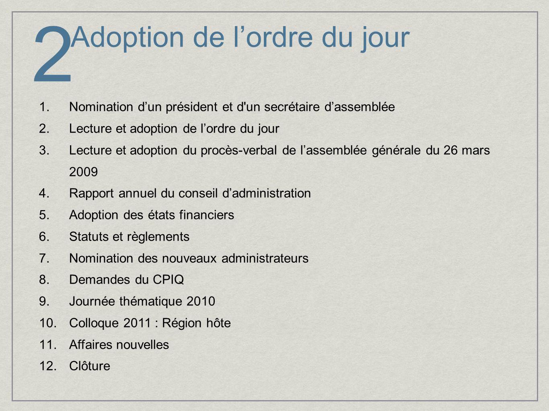Adoption de l'ordre du jour