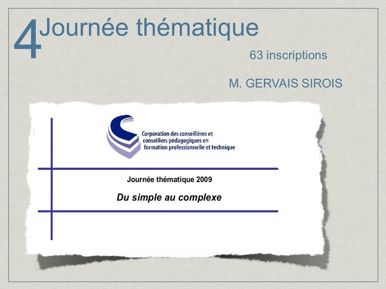4 Journée thématique 63 inscriptions M. GERVAIS SIROIS