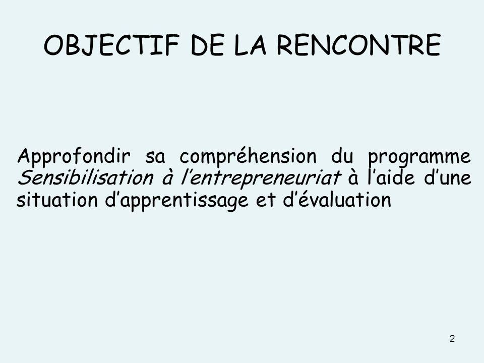 OBJECTIF DE LA RENCONTRE