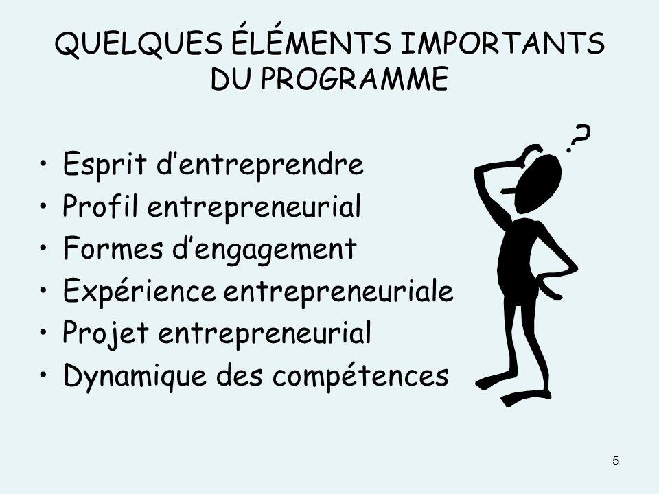 QUELQUES ÉLÉMENTS IMPORTANTS DU PROGRAMME