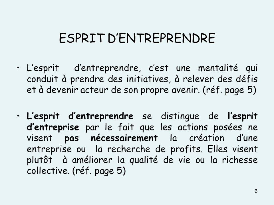ESPRIT D'ENTREPRENDRE