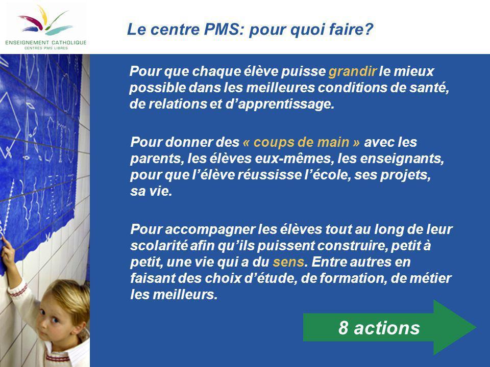 8 actions Le centre PMS: pour quoi faire