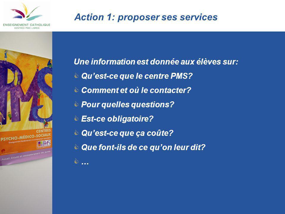 Action 1: proposer ses services