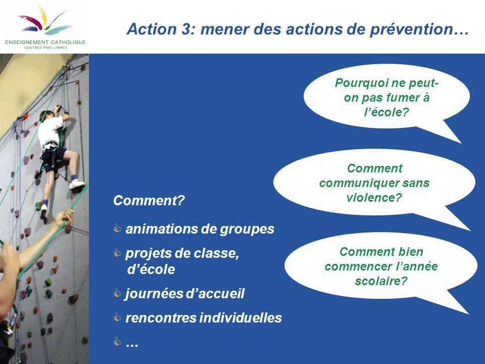 Action 3: mener des actions de prévention…