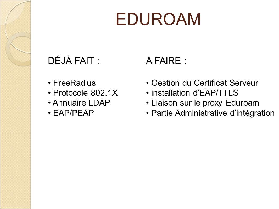 EDUROAM DÉJÀ FAIT : A FAIRE : FreeRadius Protocole 802.1X