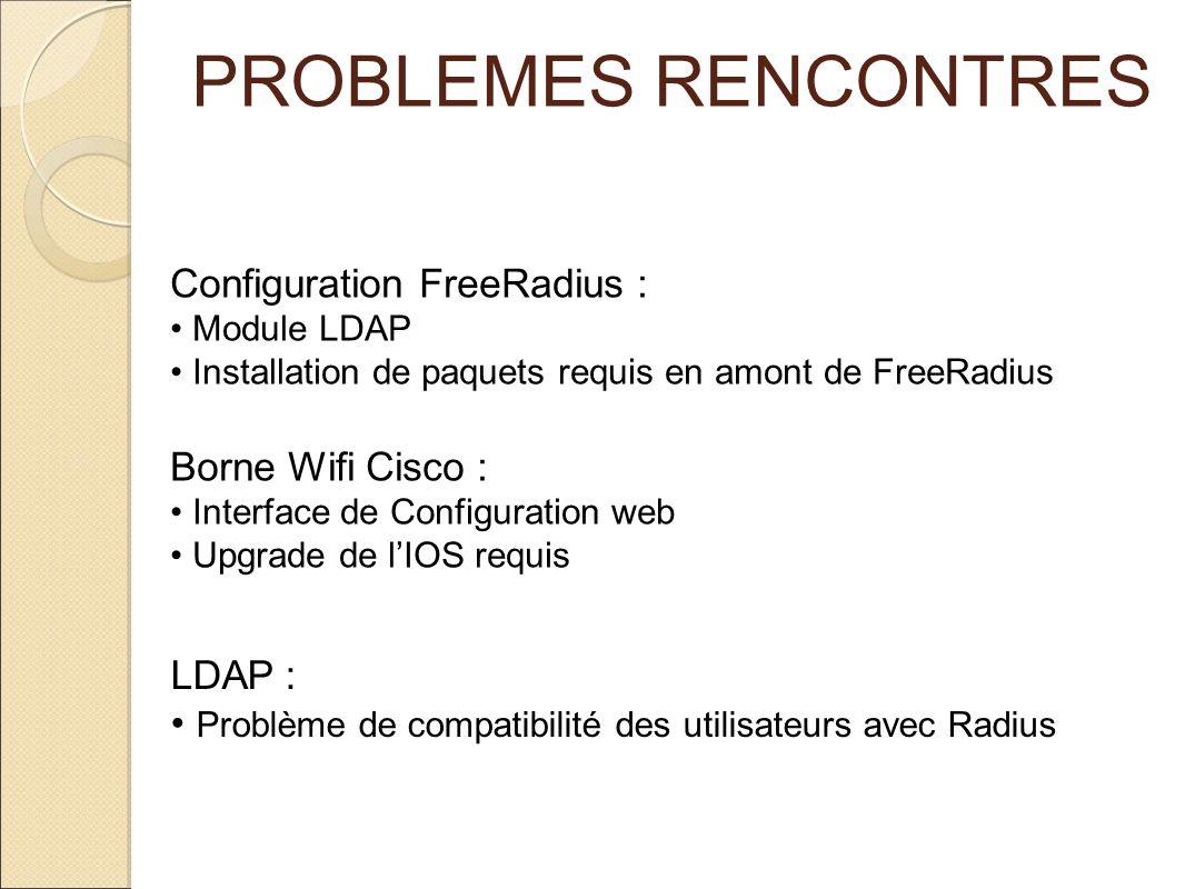 PROBLEMES RENCONTRES Configuration FreeRadius : Borne Wifi Cisco :