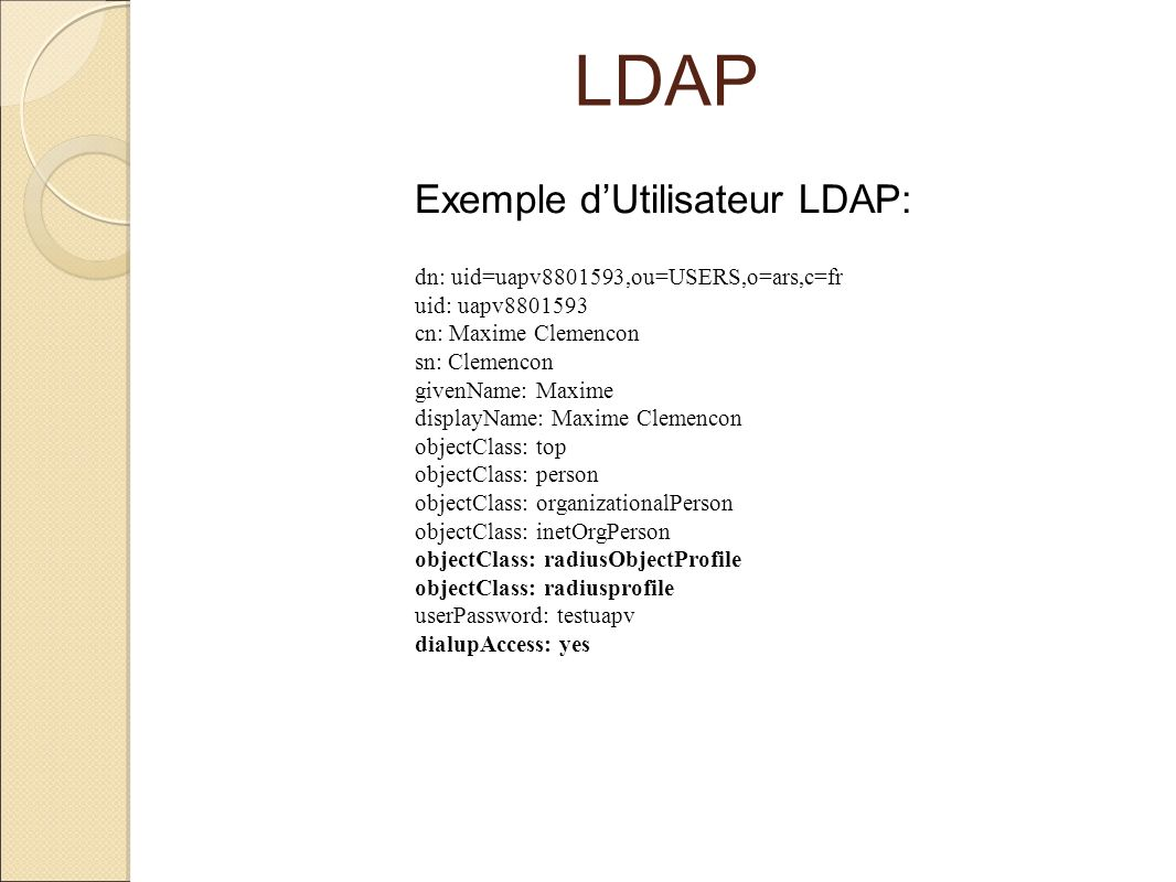 LDAP Exemple d'Utilisateur LDAP: