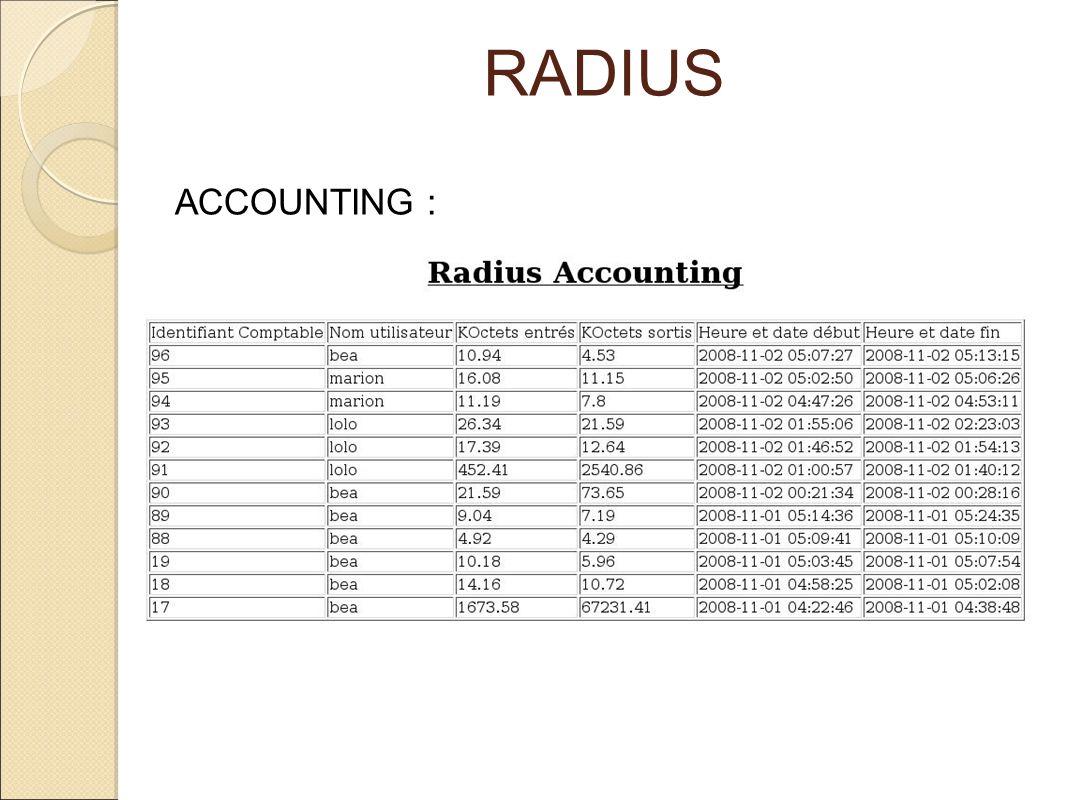 RADIUS ACCOUNTING :