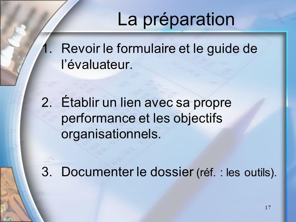 La préparation Revoir le formulaire et le guide de l'évaluateur.