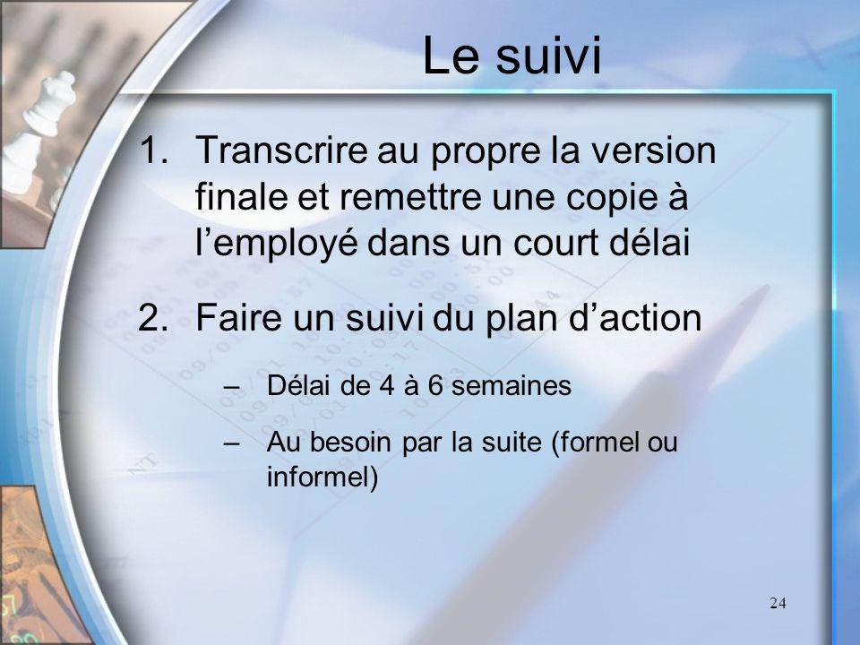 Le suivi Transcrire au propre la version finale et remettre une copie à l'employé dans un court délai.
