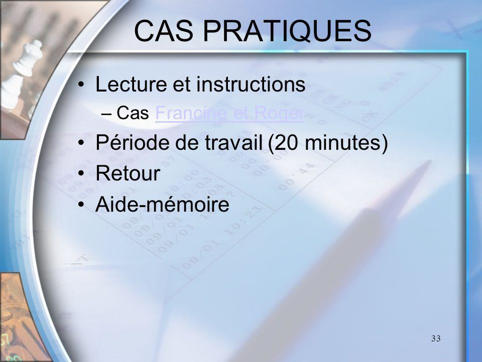 CAS PRATIQUES Lecture et instructions Période de travail (20 minutes)