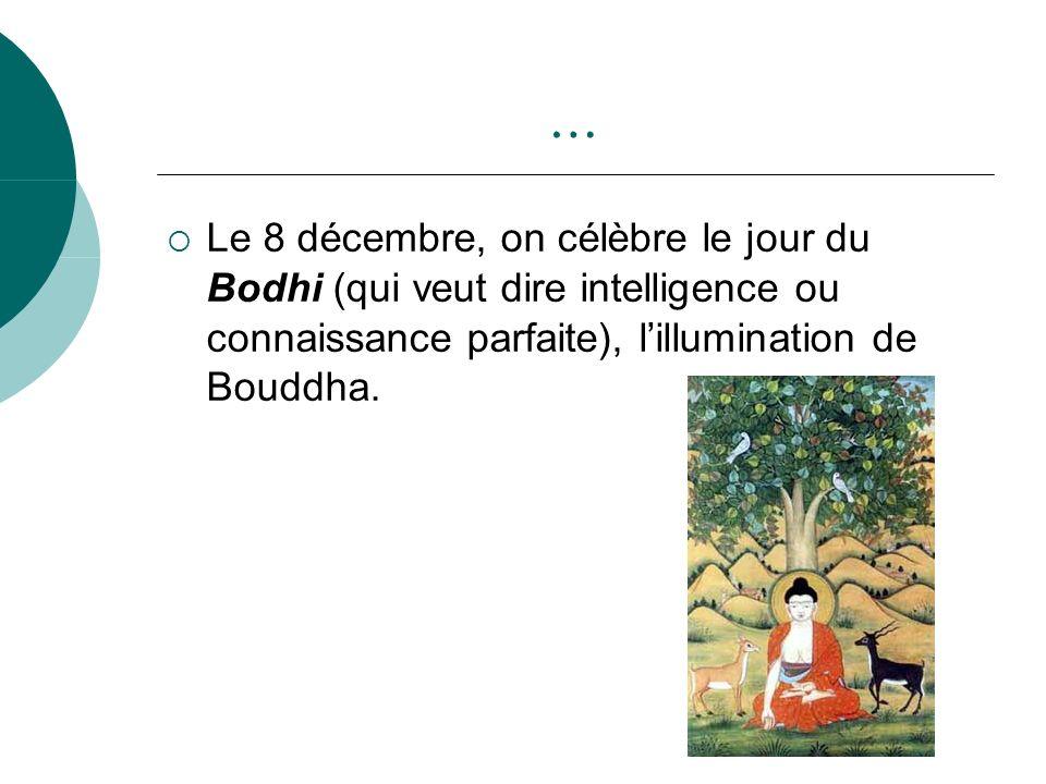 … Le 8 décembre, on célèbre le jour du Bodhi (qui veut dire intelligence ou connaissance parfaite), l'illumination de Bouddha.
