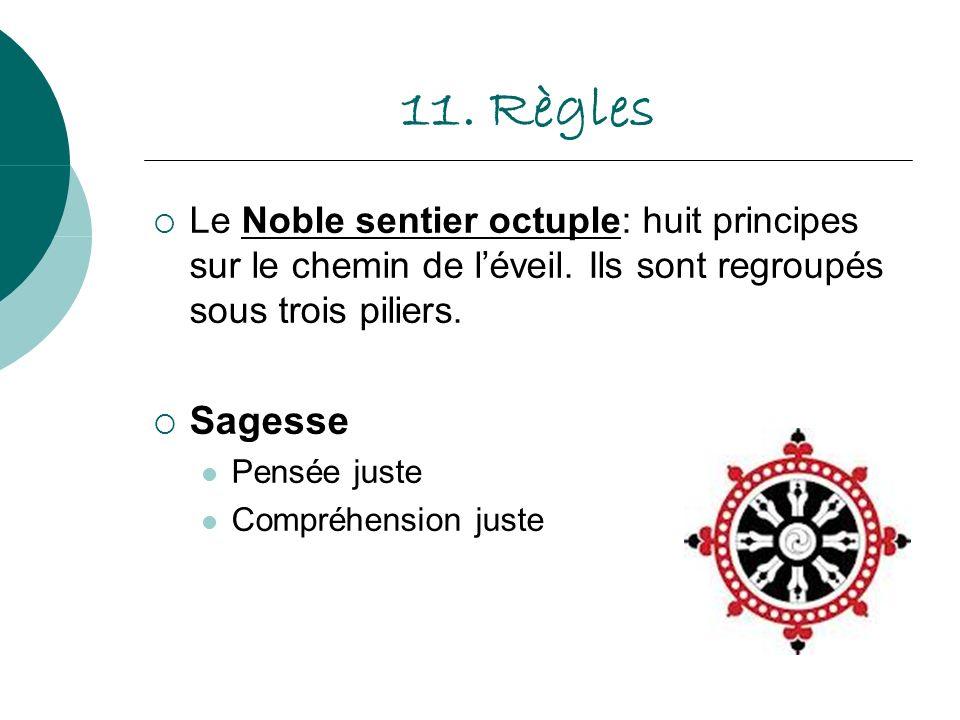 11. Règles Le Noble sentier octuple: huit principes sur le chemin de l'éveil. Ils sont regroupés sous trois piliers.