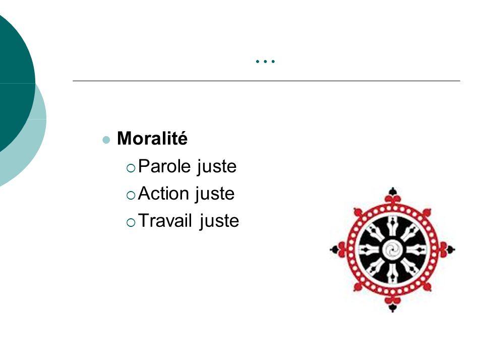 … Moralité Parole juste Action juste Travail juste