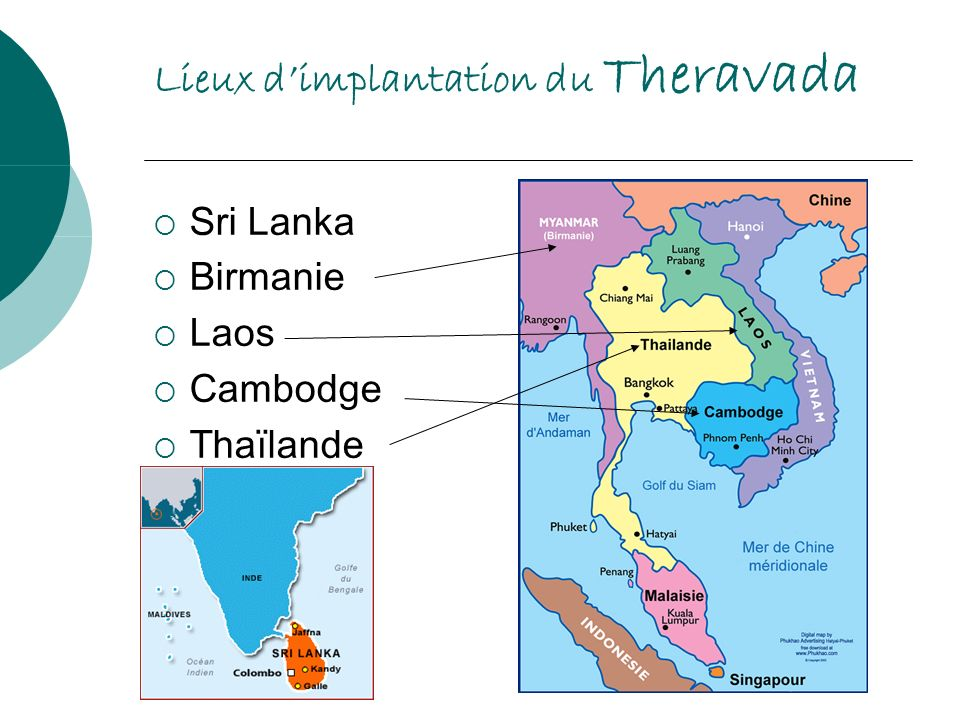 Lieux d'implantation du Theravada